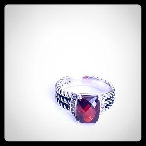 David Yurman 8 Petite Wheaton Red Garnet Ring